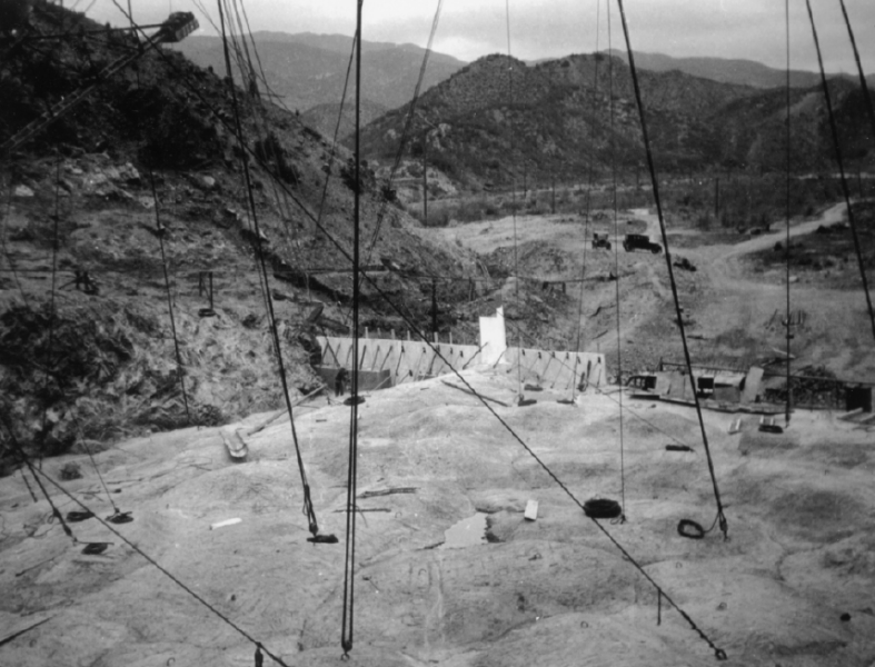 View looking upstream during the early stages of construction of St. Francis Dam