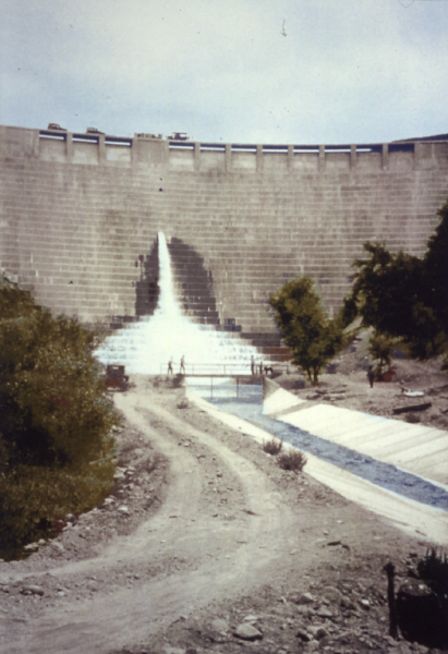 View shows water being released from one of five outlets for the purpose of conducting downstream streamflow testing with regard to a water rights dispute by downstream farmers and ranchers.